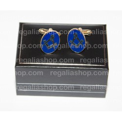Masonic Cufflinks Square and Compass Oval Shape