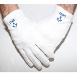 Lodge Number with Square & Compass Craft Masonic Gloves